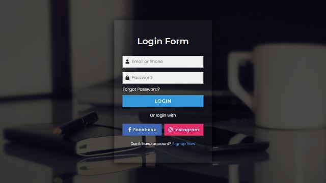 Transparent Login Form HTML CSS and JavaScript