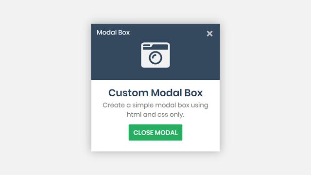 Custom Modal Box using HTML CSS and Javascript