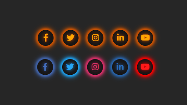 Glowing Social Media Icons Widget using only HTML and CSS