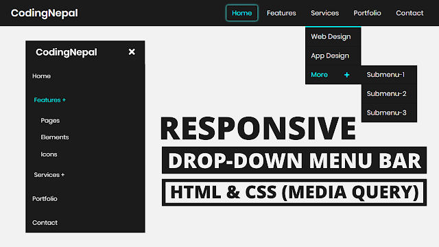 Responsive Drop-down Menu Bar using HTML and CSS