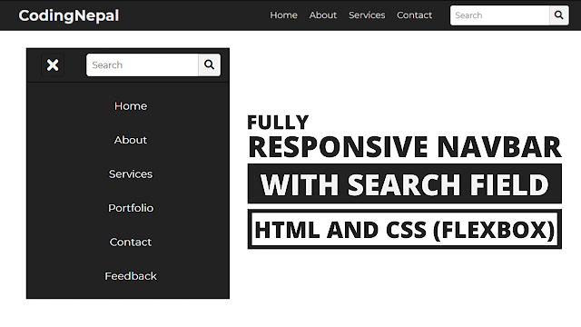 Responsive Navbar with Search Box using HTML CSS