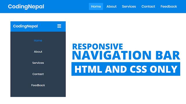 Responsive Navigation Menu Bar in HTML CSS