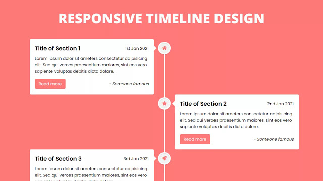 Responsive Vertical Timeline Design using only HTML & CSS