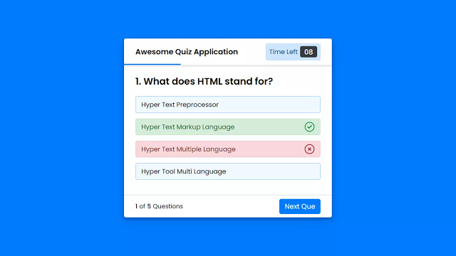 Create a Quiz App with Timer using HTML CSS & JavaScript