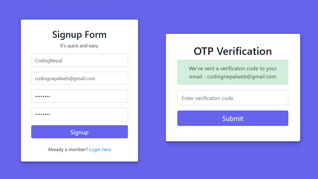Login & Signup Form with Email Verification using PHP and MySQL