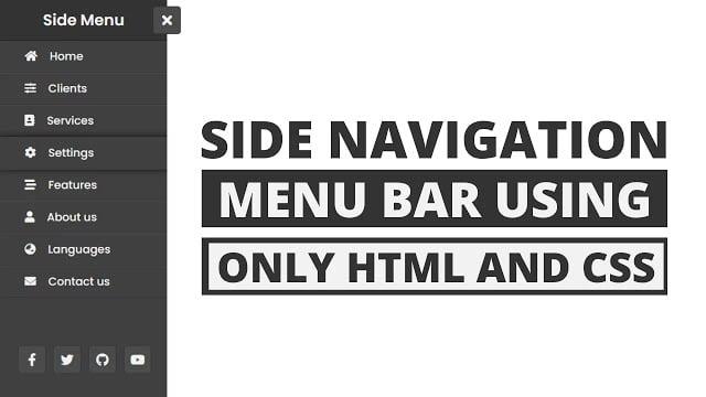 Animated Sidebar Menu using only HTML & CSS Side Navigation Menu