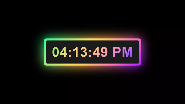 Digital Clock with Colorful Glowing Effect using HTML CSS & JavaScript