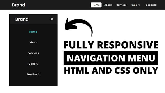 Responsive Navigation Menu Bar Design using only HTML & CSS