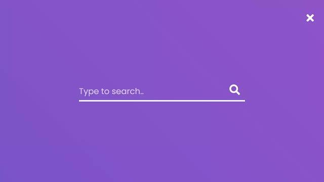 Full Screen Search Bar Animation using HTML CSS & JavaScript