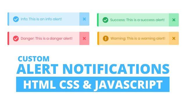 Custom Warning Alert Notification using HTML CSS & JavaScript