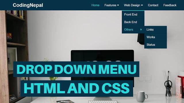 Animated Drop-down Menu Bar using HTML & CSS