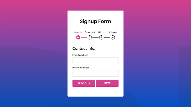 Multi Step Form with Step Progress Bar in HTML CSS & JavaScript