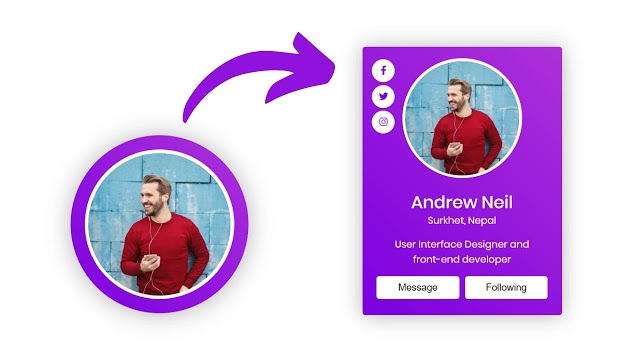 Animated Profile Card UI Design with Hover Animation in HTML CSS & JavaScript