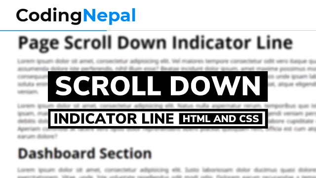 Page Scroll Down Indicator Line in HTML CSS & JavaScript