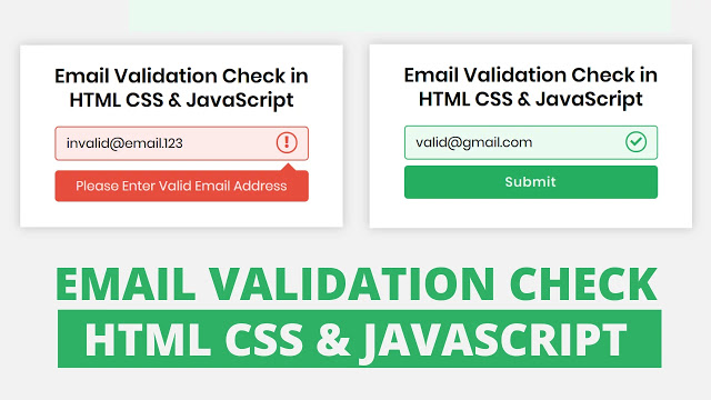 Email Validation in HTML CSS & JavaScript