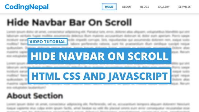 Scroll Down to Hide Navbar with HTML CSS & JavaScript