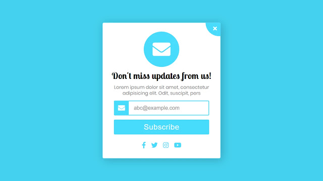 Popup Subscription Form using HTML CSS and Javascript