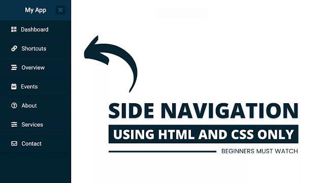 Side Navigation Menu Bar in HTML CSS